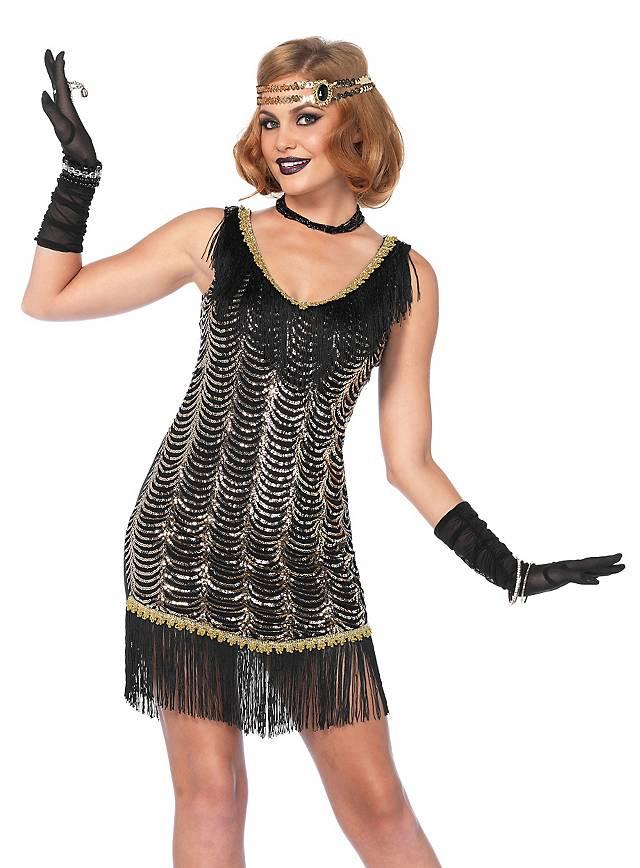 Kostüme & Verkleidungen Damen Schwarz 1920s Jahre Flapper Charleston Kostüm Zigarettenspitze Stick