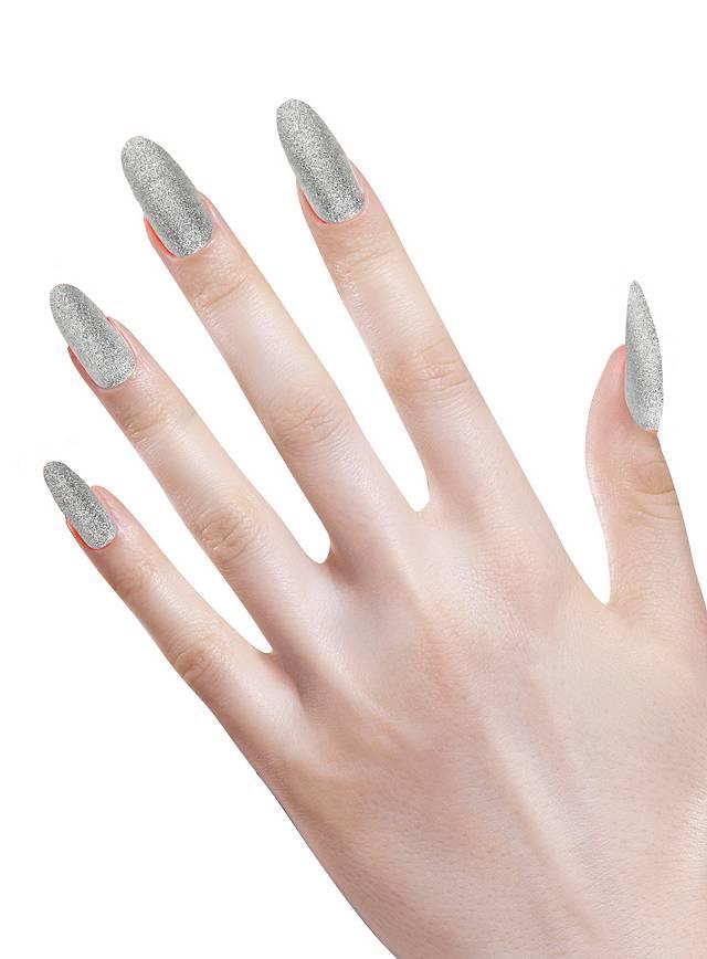 Glitzer Fingernägel silber