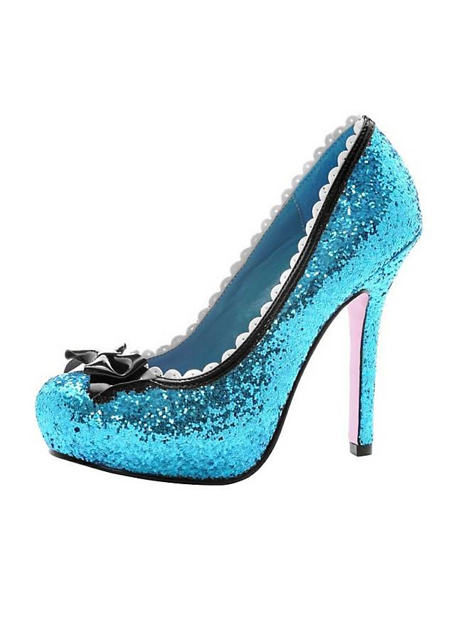 Farben und auffällig großer Rabatt Designermode Glitzer High Heels blau