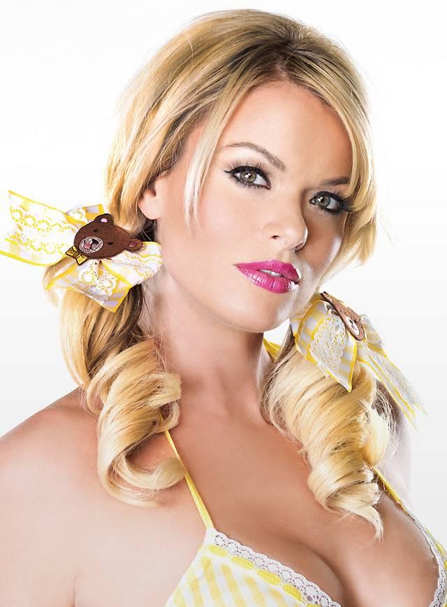 Goldlöckchen Haarschleife mit Bär gelb-weiß