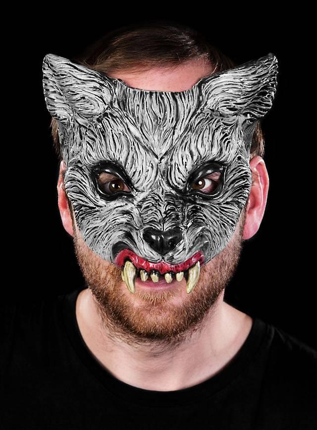 Grauer Wolf Halbmaske aus Latex