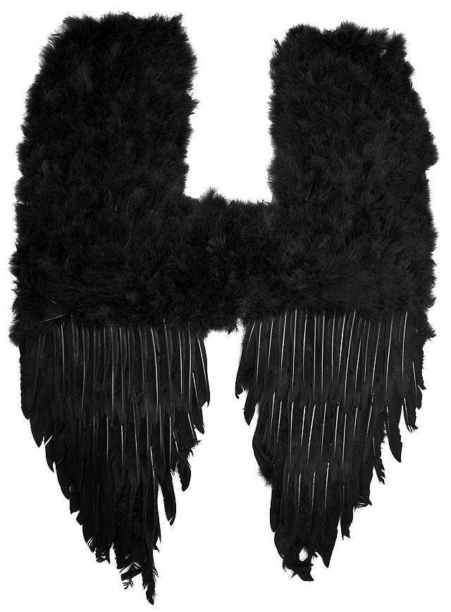 Große schwarze Dämonenflügel Federn