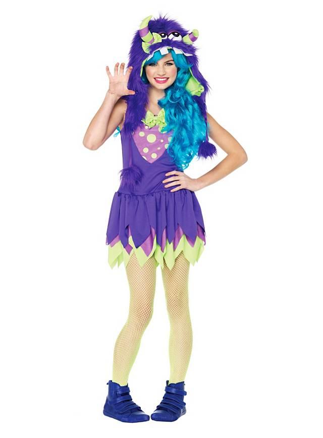 Grummel-Monster lila Kostüm für Jugendliche