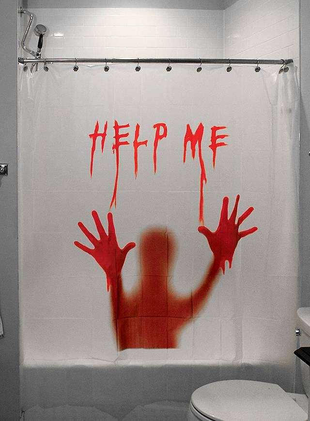 halloween duschvorhang help me. Black Bedroom Furniture Sets. Home Design Ideas