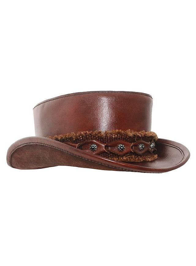 Haut-de-forme bas en cuir marron
