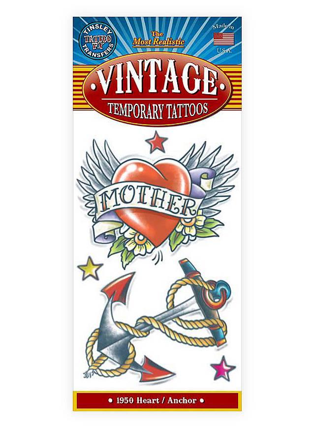 Herz-Anker Vintage Klebe-Tattoo