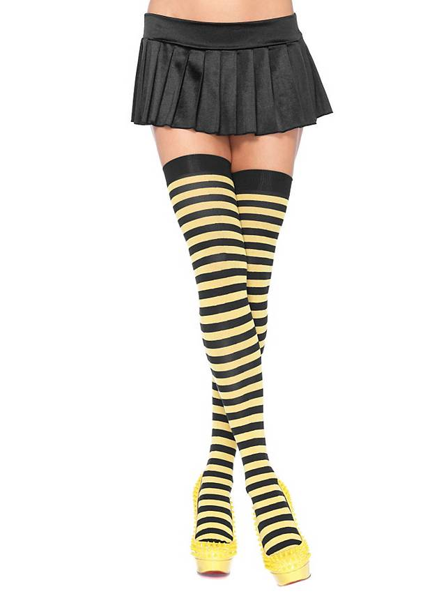 Hold up stockings black-yellow ringed