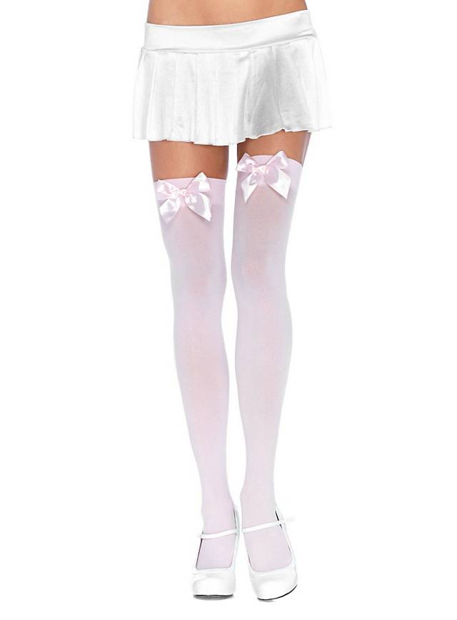 Hold up stockings with big bow light pink