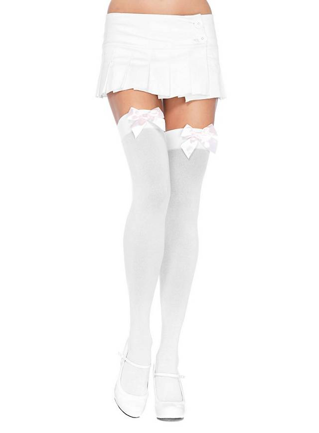Hold up stockings with big bow white-light pink