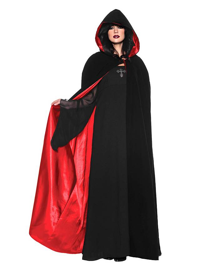 Hooded cape black-red