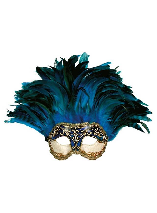 Incas Colombina Stucco craquele blu - Venezianische Maske