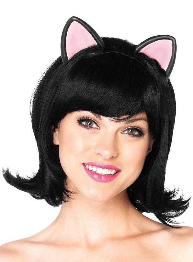 Katzenperücke kurz schwarz