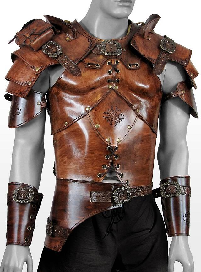 Keltenkrieger Lederrüstung beige Deluxe