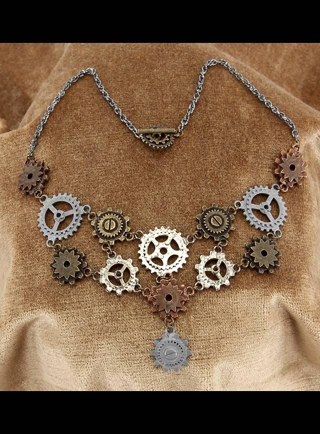 Kit de bijoux Roues dentées steampunk avec boucles d'oreille et collier