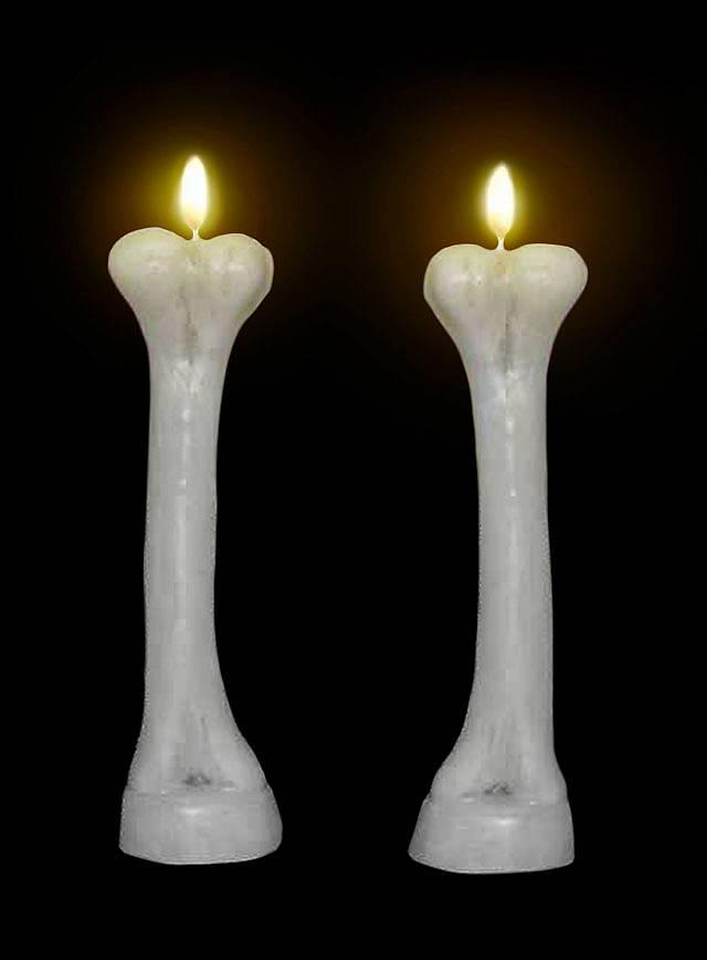 Knochenkerzen Halloween Deko