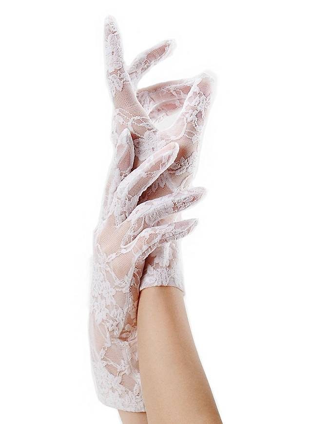 Lace Mesh Gloves white
