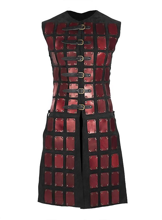 Lange Brigantine aus Leder rot-schwarz