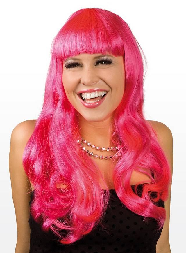 Lange Haare pink Perücke