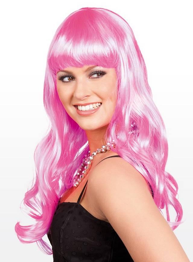 Lange Haare rosa Perücke