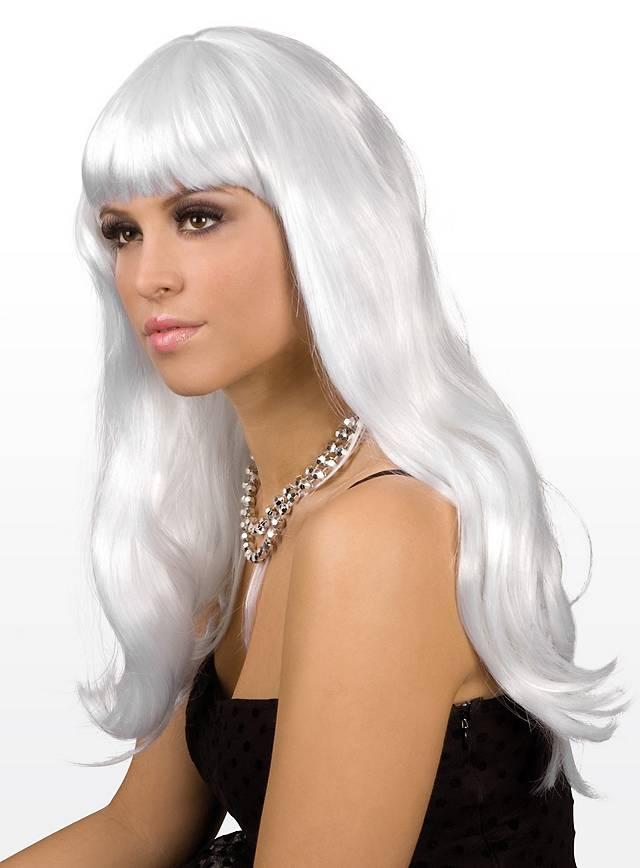 Lange Haare weiß Perücke