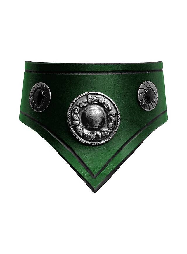 Leather Collar green & silver