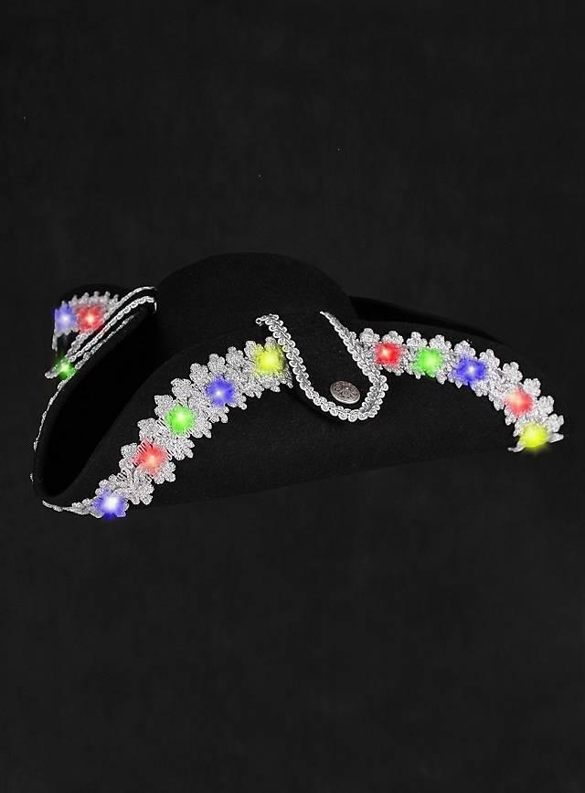 LED Hut mit Silberborte bunt blinkend