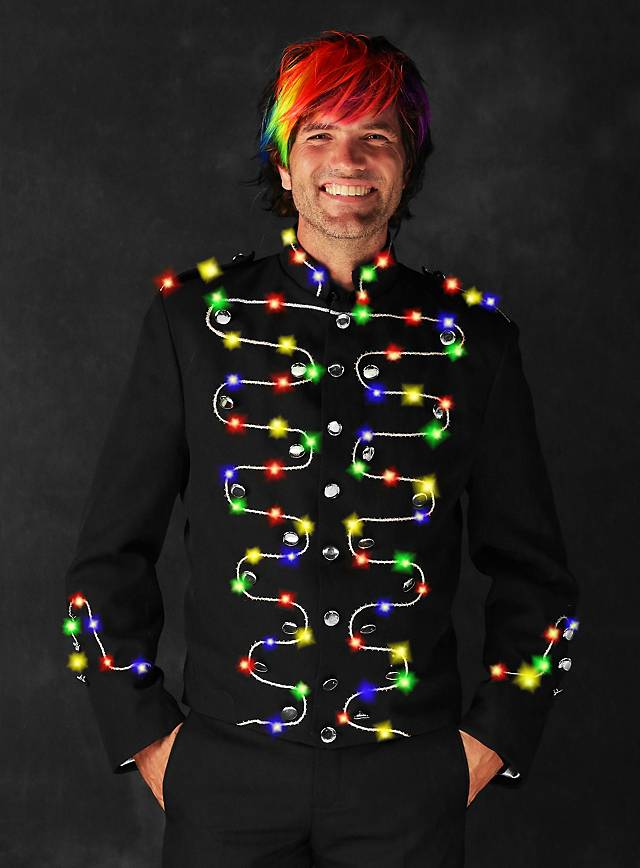 LED jacket with silver trimming for men