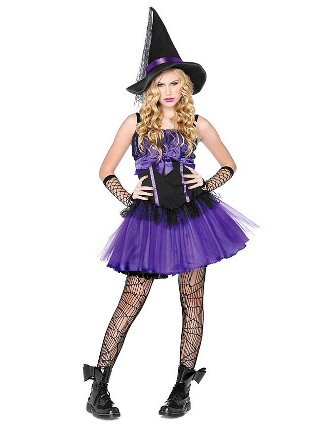 Lila Hexe Kostüm für Jugendliche