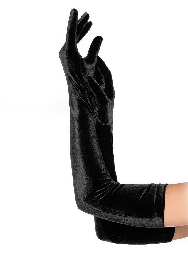 Long Velvet Gloves black