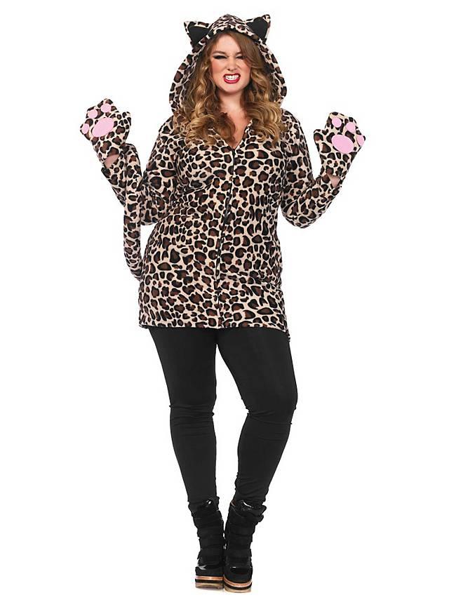 Lovely Leopard Plus Size Hoodie Dress Maskworld