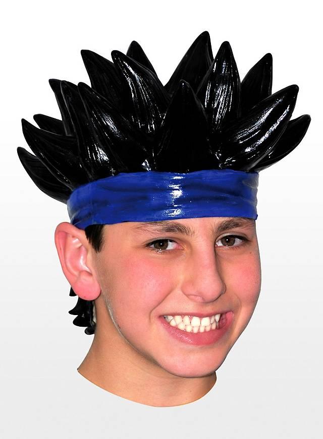 Manga Boy Latexperücke schwarz