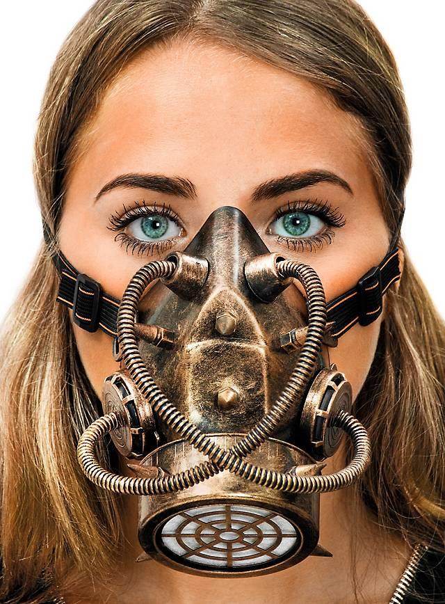 Masque à gaz steampunk bronze