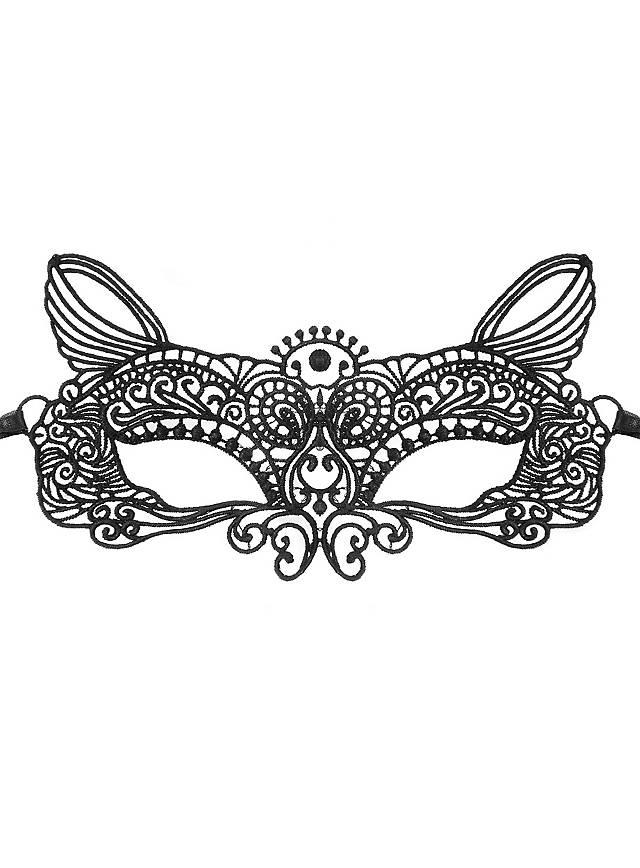 Masque en dentelle chat noir