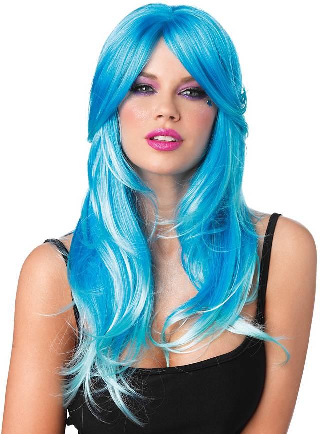 Meerjungfrau türkis-blau Perücke