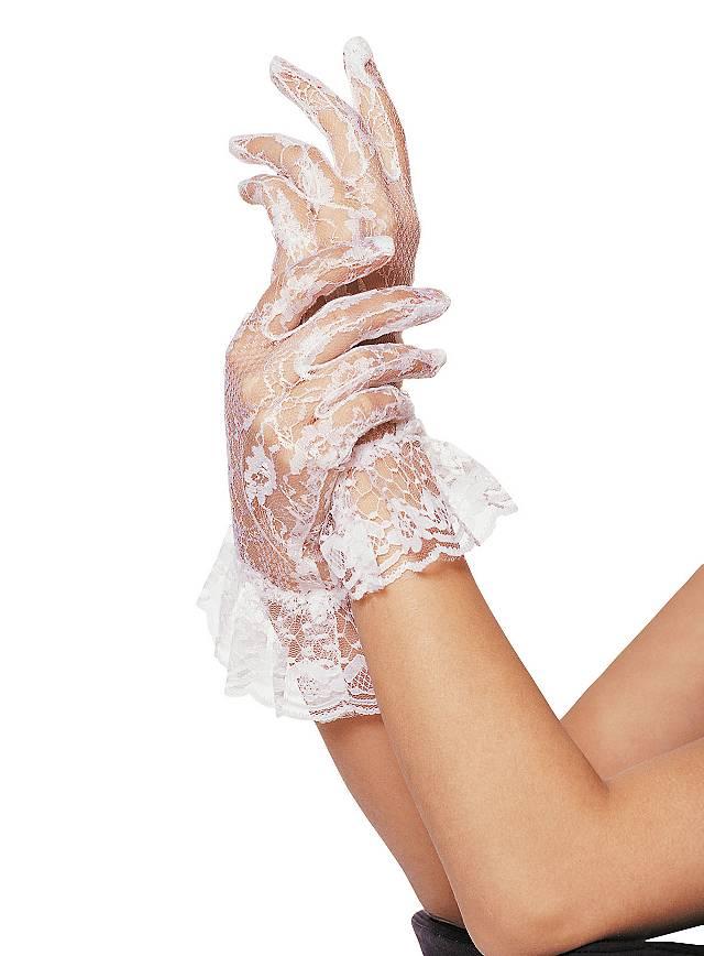 Netzstrumpf Handschuhe mit Bündchen weiss