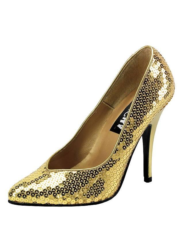 Pailletten Schuhe gold