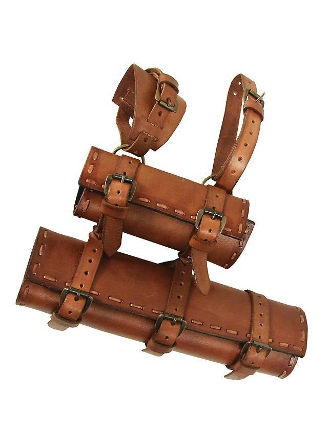 Pendant de ceinture avec deux fourreaux d'épée marron