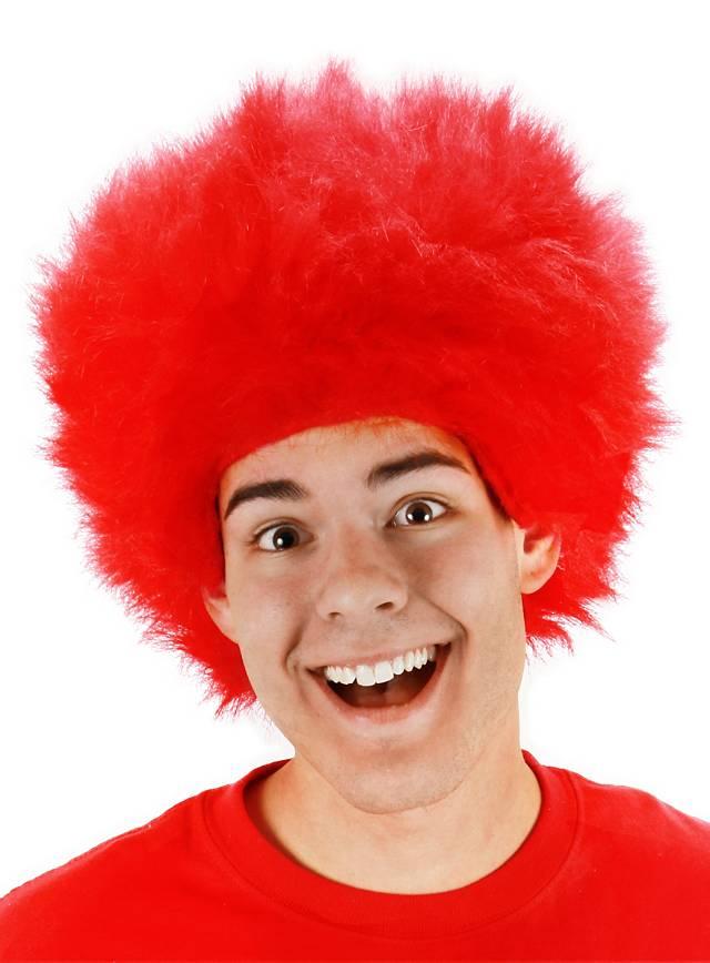 Perruque cheveux en pétard rouge