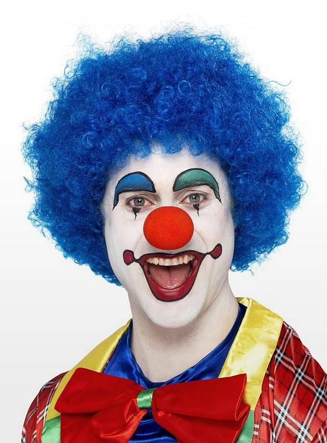 Perruque de clown bleue