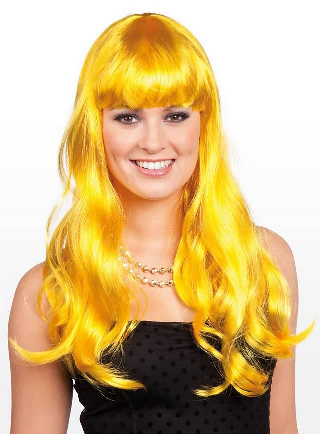 Perruque longue jaune