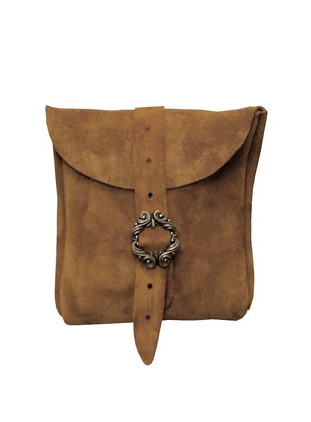 Petite sacoche de ceinture en daim marron clair