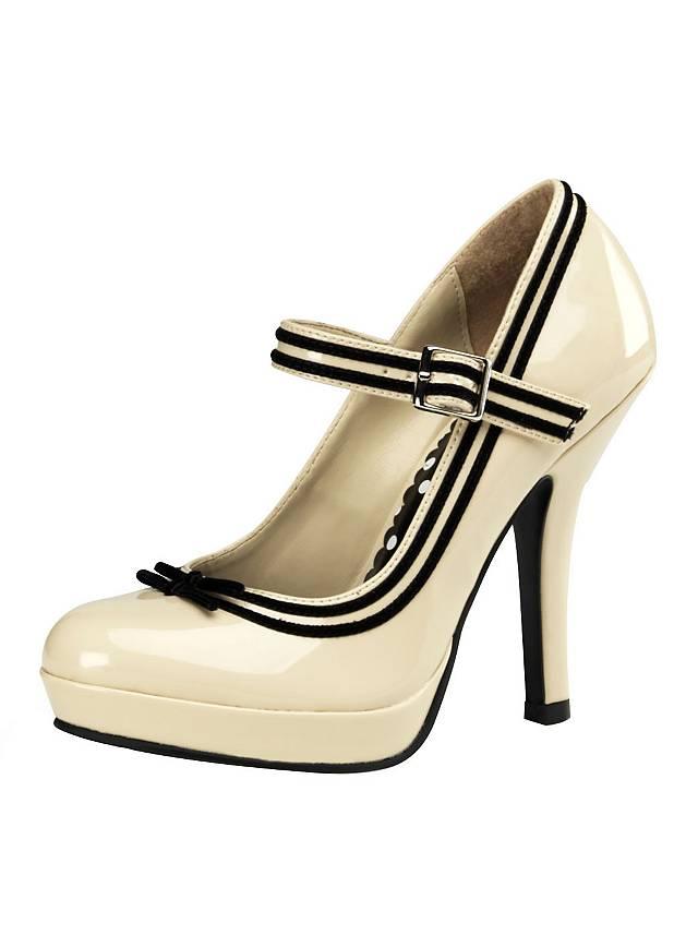 Pin-up Schuhe beige