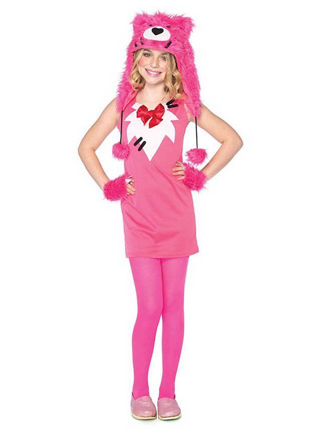 Pinkfarbener Kuschelbär Kostüm für Kinder