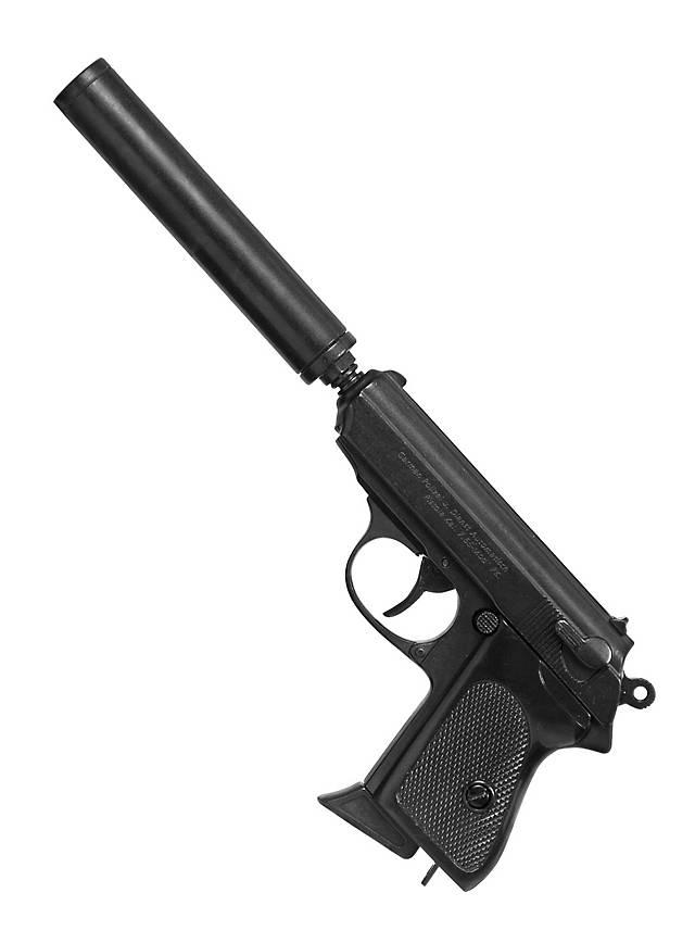 Pistole englischer Geheimagent mit Schalldämpfer Dekowaffe