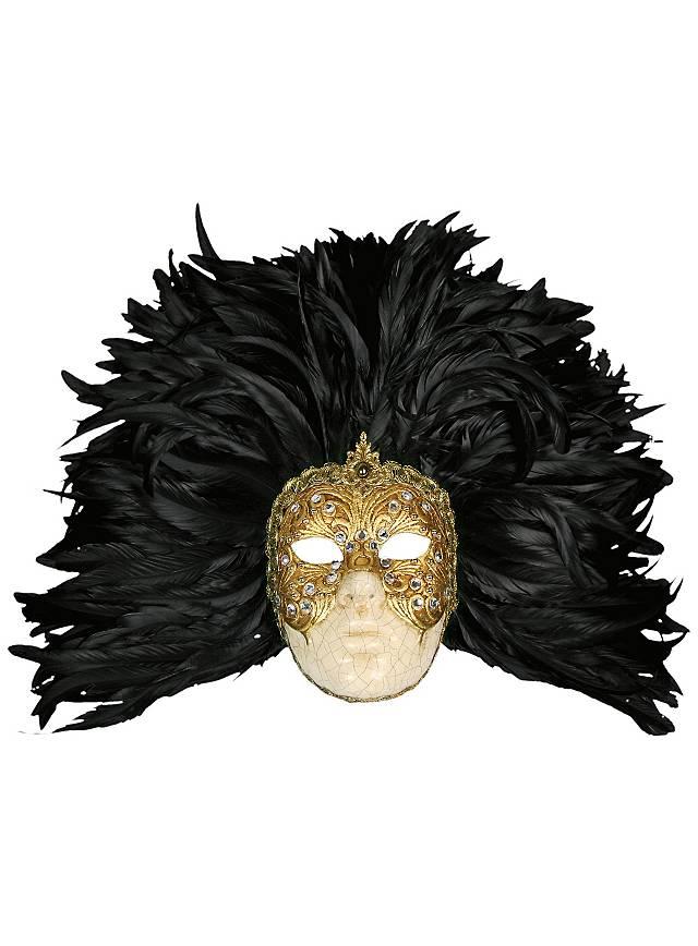 Piuma grande volto macrame oro piume nere - Venezianische Maske
