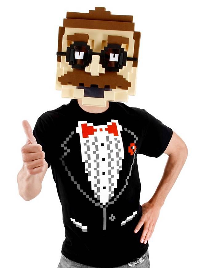 So nerdig hat sich noch niemand das Gesicht verpixeln lassen: die Pixelgesicht Maske