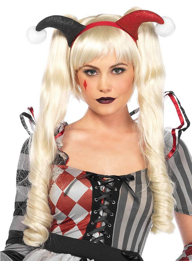 Puppe Perücke mit Zopf-Clips blond