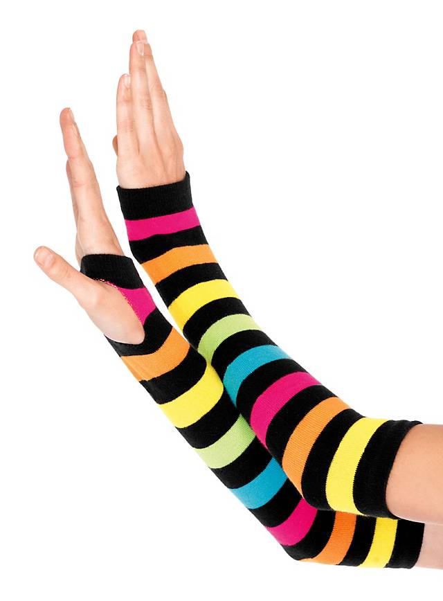 Rainbow Arm Warmers neon