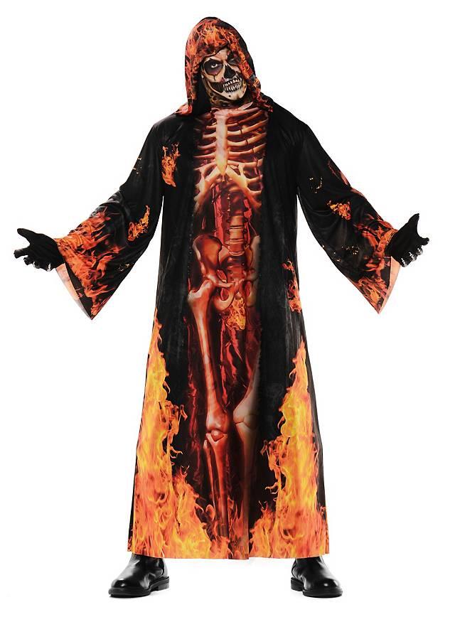 Realistischer Feuerskelett Einteiler Kostüm