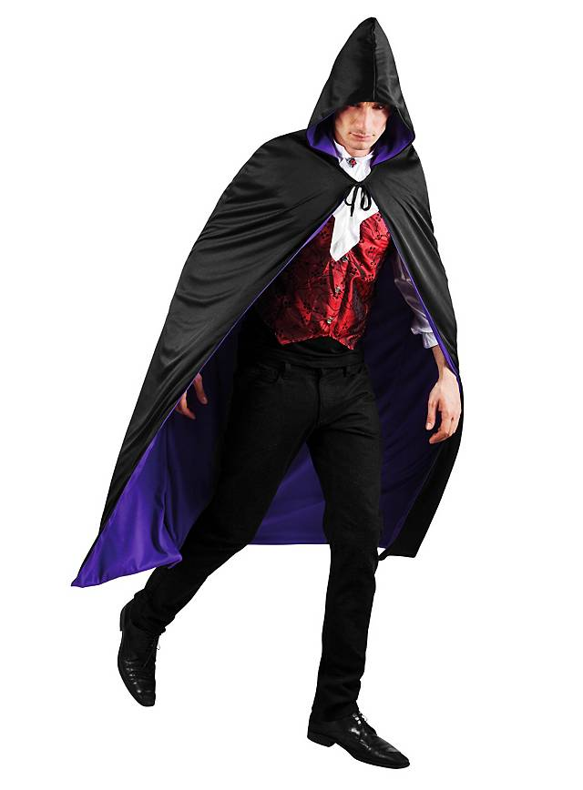Reversible Hooded Cape black & purple